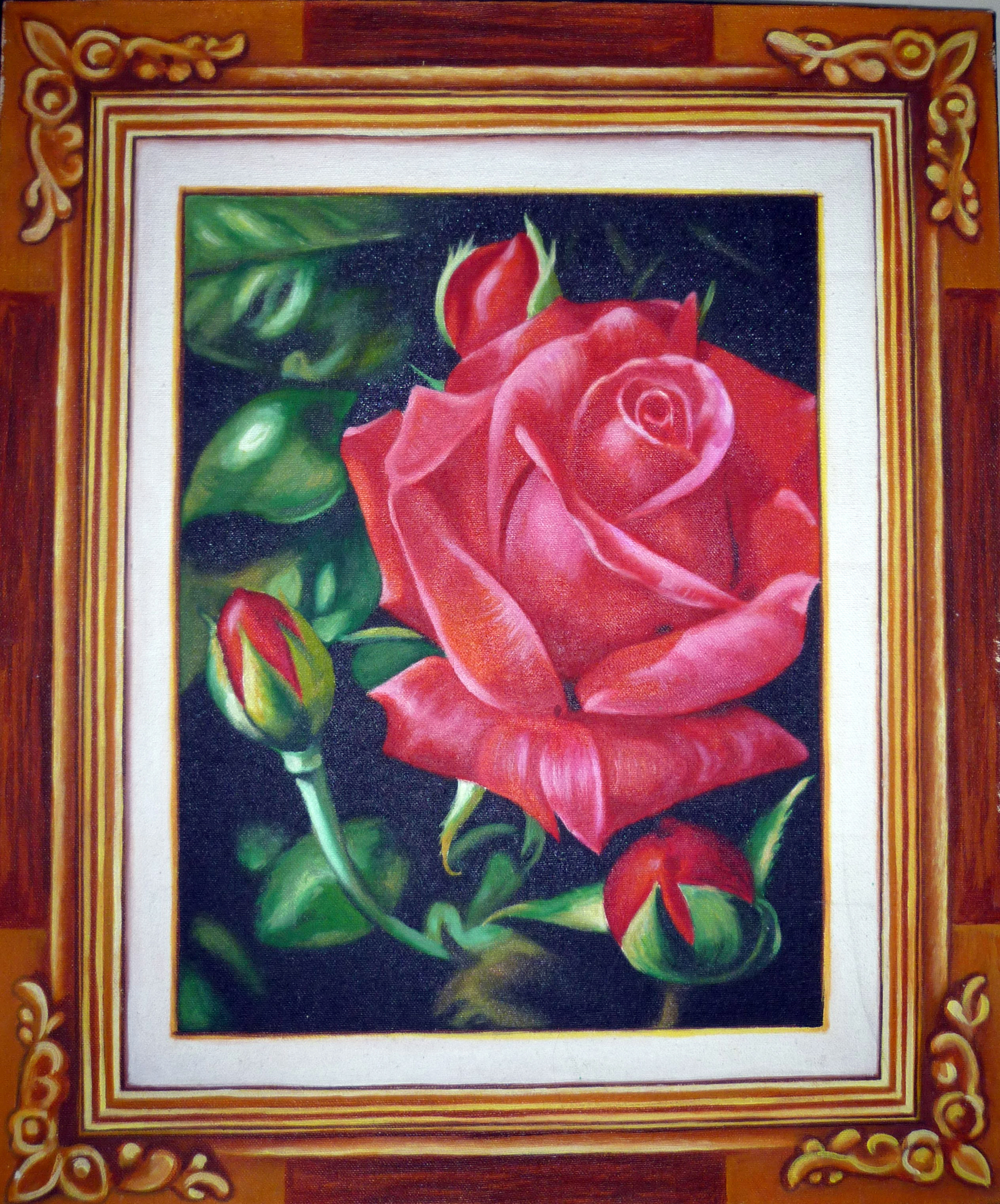 painting red rose